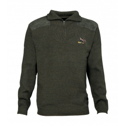 Pull chasse brode m col...