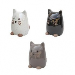 Chat emaillee gris 15xh20cm